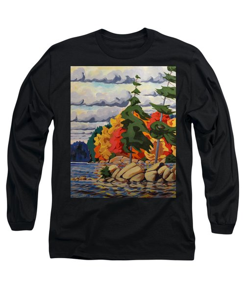 Snake Island In Fall-close Long Sleeve T-Shirt by David Gilmore