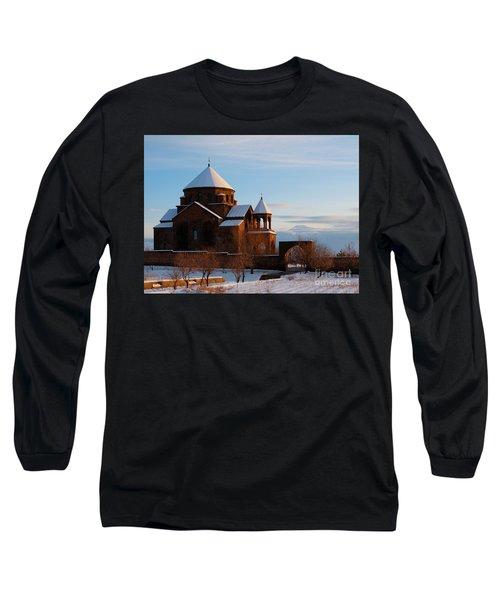Snow Capped St. Hripsipe Church At Winter, Armenia Long Sleeve T-Shirt by Gurgen Bakhshetsyan