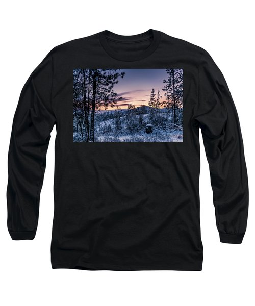Snow Coved Trees And Sunset Long Sleeve T-Shirt