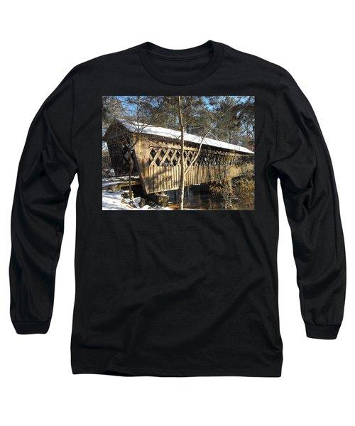 Snow Covered Bridge Long Sleeve T-Shirt by Adam Cornelison
