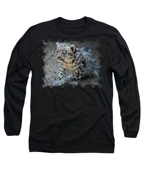 Snow Leopard Cub Paws Border Long Sleeve T-Shirt by Terry DeLuco