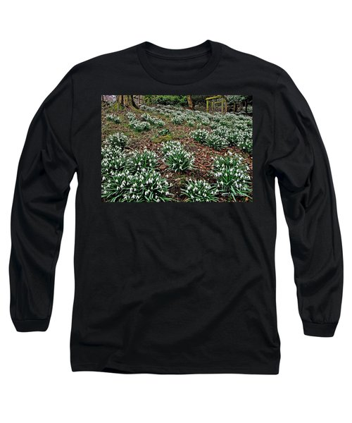 Snowdrops In Spring Woodland Long Sleeve T-Shirt