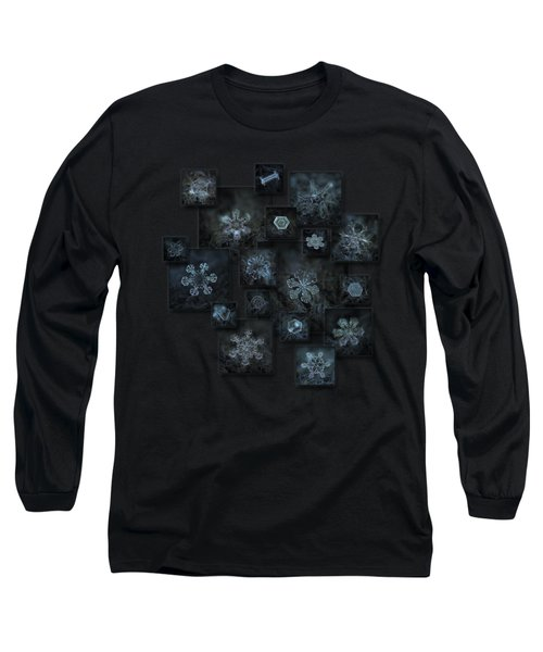 Long Sleeve T-Shirt featuring the photograph Snowflake Collage - Dark Crystals 2012-2014 by Alexey Kljatov
