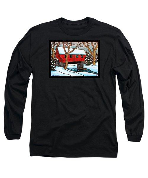 Snowy Covered Bridge Long Sleeve T-Shirt by Jim Harris