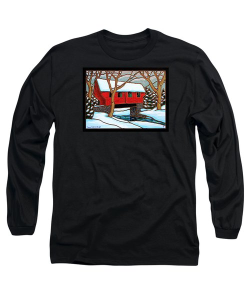 Snowy Covered Bridge Long Sleeve T-Shirt
