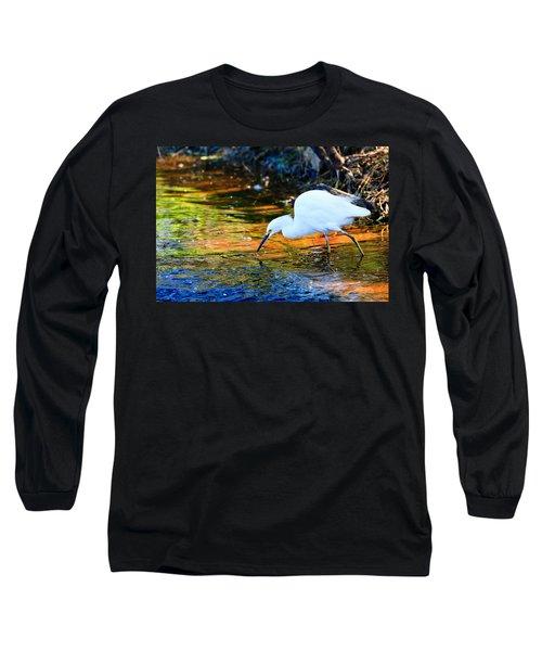 Snowy Egret Hunting 2 Long Sleeve T-Shirt