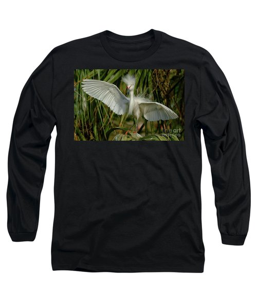 Snowy Egret In The Trees Long Sleeve T-Shirt by Myrna Bradshaw