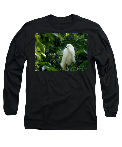 Snowy Egret In The Trees Long Sleeve T-Shirt