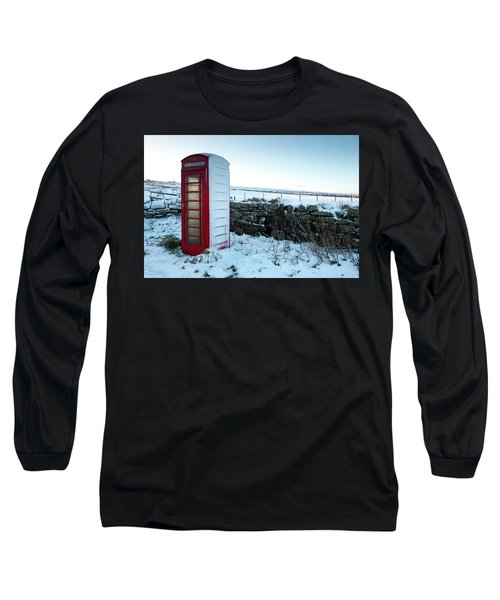 Snowy Telephone Box Long Sleeve T-Shirt by Helen Northcott