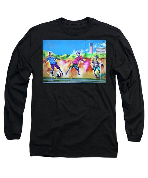 Soccer Graffiti Long Sleeve T-Shirt by Theresa Tahara