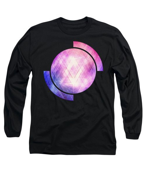 Soft Modern Fashion Pink Purple Bluetexture  Soft Light Glass Style   Triangle   Pattern Edit Long Sleeve T-Shirt