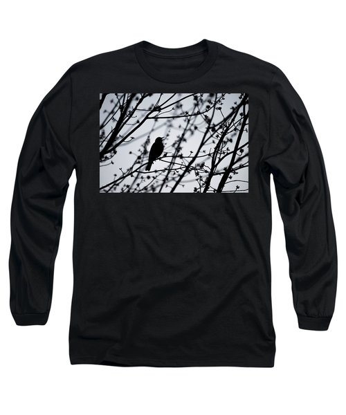 Long Sleeve T-Shirt featuring the photograph Song Bird Silhouette by Terry DeLuco