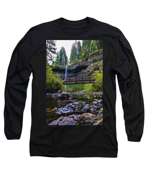 South Silver Falls With Bridge Long Sleeve T-Shirt by Darcy Michaelchuk
