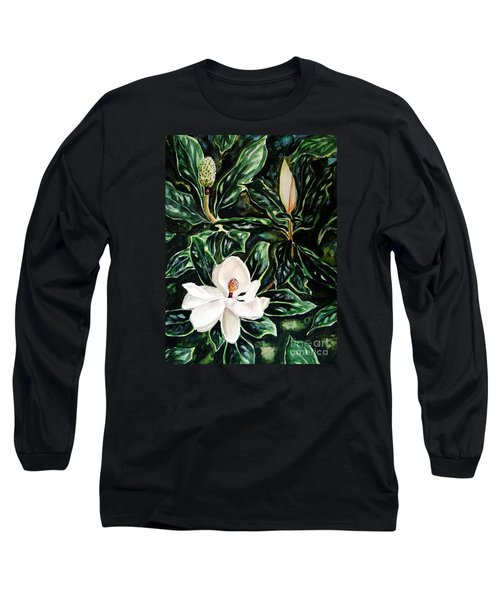 Southern Magnolia Bud And Bloom Long Sleeve T-Shirt by Patricia L Davidson