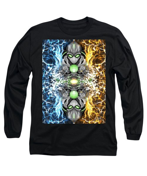 Long Sleeve T-Shirt featuring the painting Space Alien Time Machine Fantasy Art by Raphael Lopez