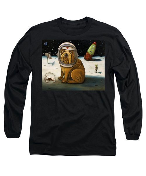 Long Sleeve T-Shirt featuring the painting Space Crash by Leah Saulnier The Painting Maniac