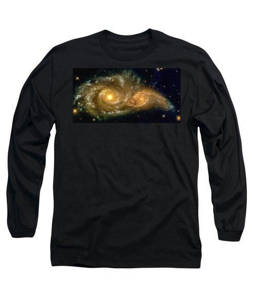 Space Image Spiral Galaxy Encounter Long Sleeve T-Shirt by Matthias Hauser