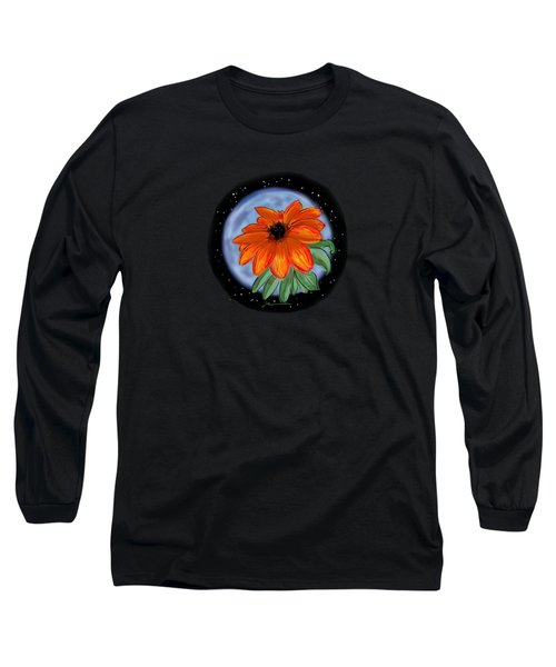 Space Zinnia On Black Long Sleeve T-Shirt by Jean Pacheco Ravinski
