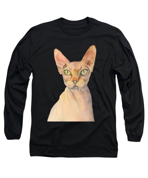 Sphynx Cat Watercolor Portrait Long Sleeve T-Shirt