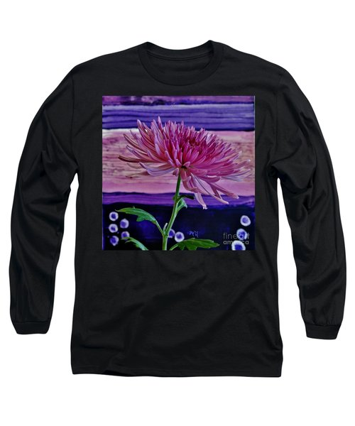Long Sleeve T-Shirt featuring the photograph Spider Mum With Abstract by Marsha Heiken