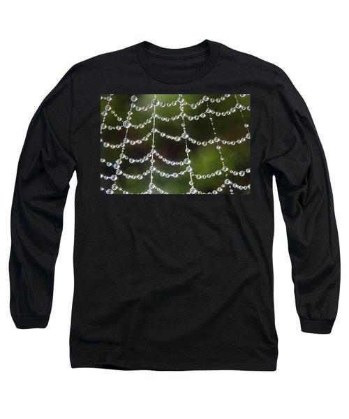 Spider Web Decorated By Morning Fog Long Sleeve T-Shirt