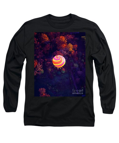 Spiral Colored Hot Air Balloon Over Fall Tree Tops Mchenry   Long Sleeve T-Shirt by Tom Jelen