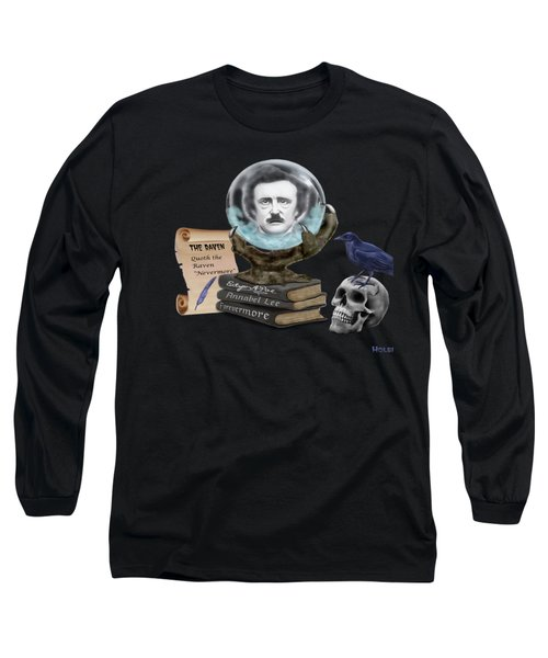 Spirit Of Edgar A. Poe Long Sleeve T-Shirt by Glenn Holbrook
