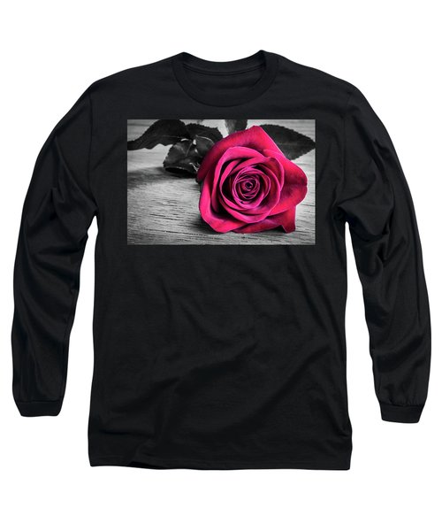 Splash Of Red Rose Long Sleeve T-Shirt