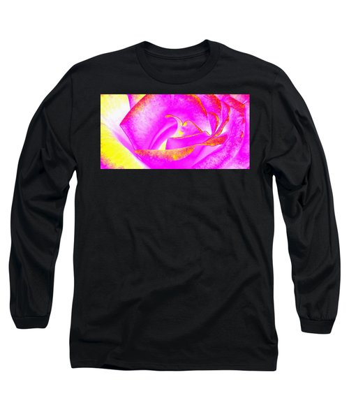 Long Sleeve T-Shirt featuring the mixed media Splendid Rose Abstract by Will Borden