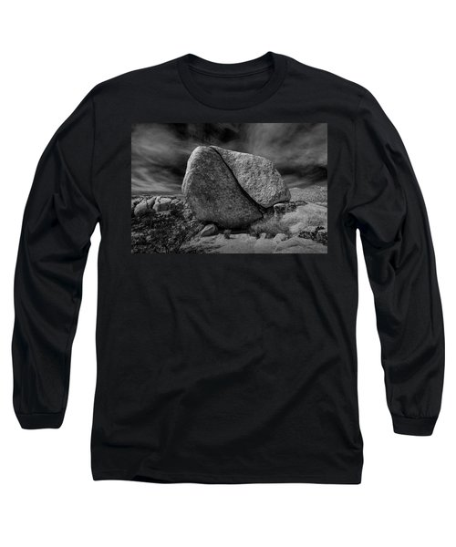 Long Sleeve T-Shirt featuring the photograph Split Rock In Black And White At Joshua Tree National Park by Randall Nyhof