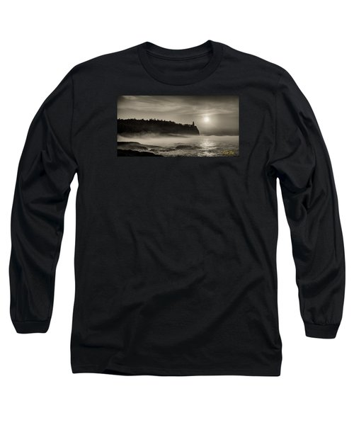 Split Rock Lighthouse Emerging Fog Long Sleeve T-Shirt by Rikk Flohr