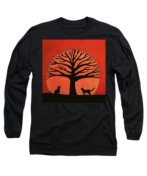 Spooky Cat Tree Long Sleeve T-Shirt
