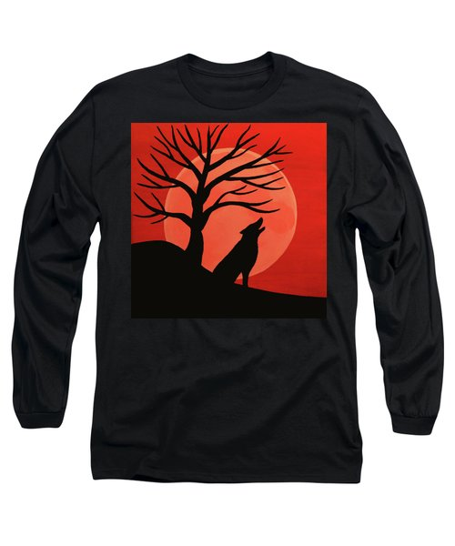 Spooky Wolf Tree Long Sleeve T-Shirt