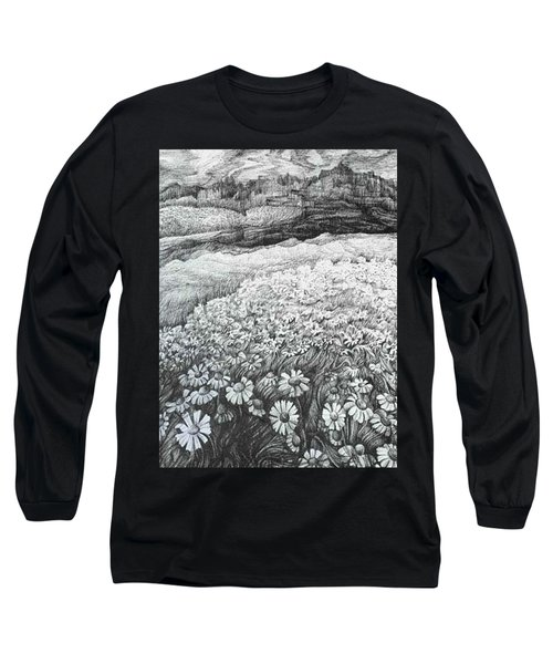 Long Sleeve T-Shirt featuring the drawing Spring Flowers by Anna  Duyunova