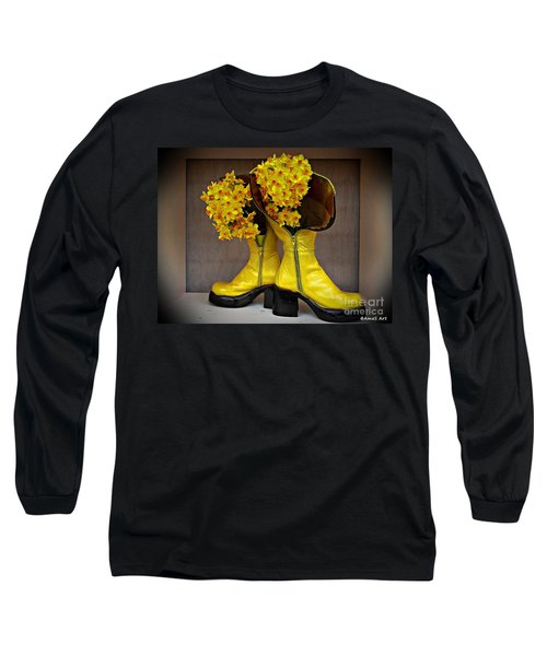 Spring In Yellow Boots Long Sleeve T-Shirt by AmaS Art