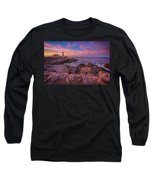Spring Sunset At Portland Head Lighthouse Long Sleeve T-Shirt by Rick Berk