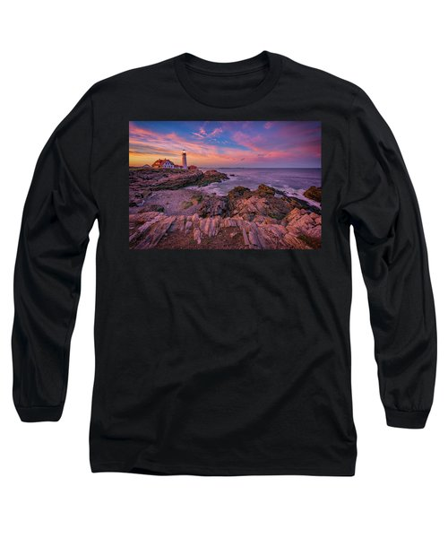 Spring Sunset At Portland Head Lighthouse Long Sleeve T-Shirt