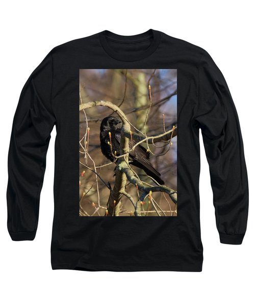 Long Sleeve T-Shirt featuring the photograph Springtime Crow by Bill Wakeley