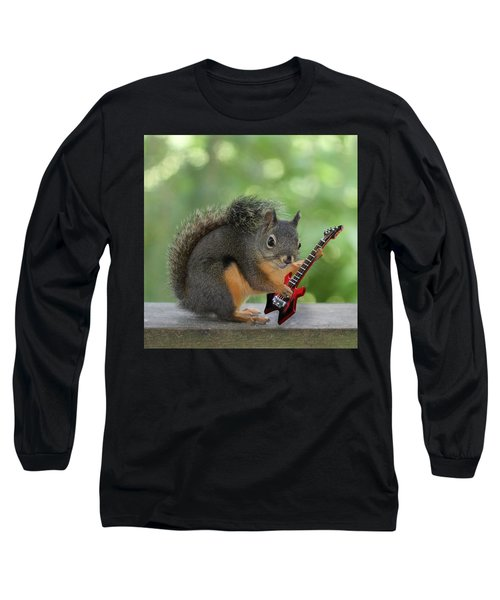 Squirrel Playing Electric Guitar Long Sleeve T-Shirt by Peggy Collins