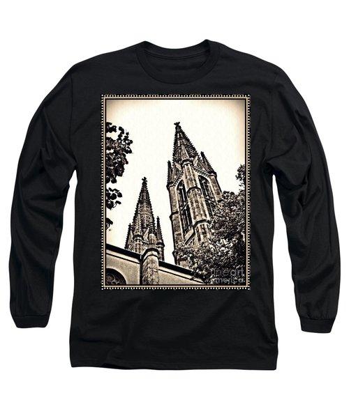 St Boniface Church Towers Sepia Long Sleeve T-Shirt by Sarah Loft