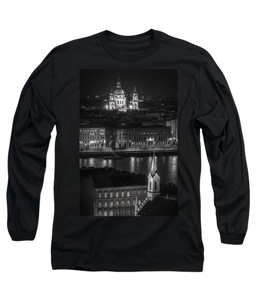 St Stephens Basilica Night Bw Long Sleeve T-Shirt