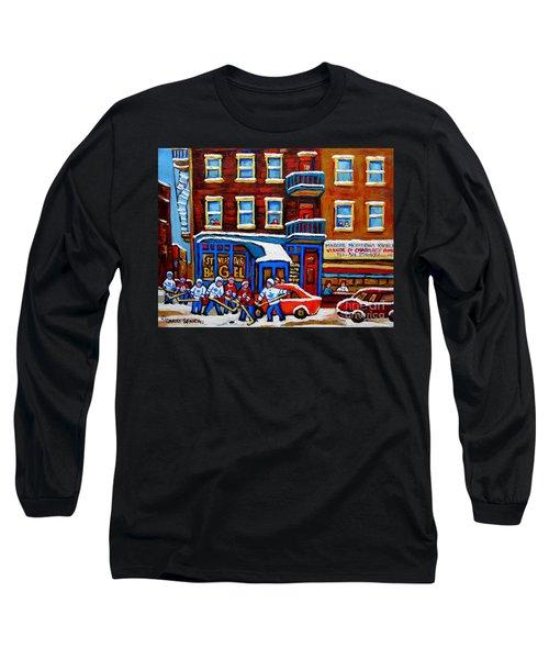 St Viateur Bagel With Hockey Montreal Winter Street Scene Long Sleeve T-Shirt