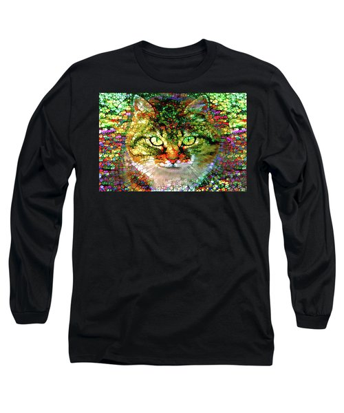 Stained Glass Cat Long Sleeve T-Shirt