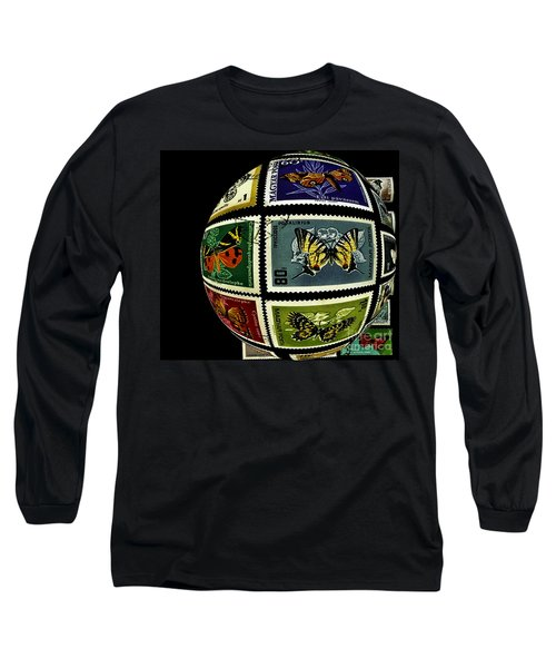 Stamp Collecting Around The World Long Sleeve T-Shirt by Carol F Austin