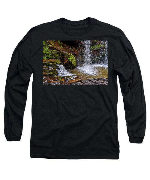 Standing In Motion - Brasstown Falls 011 Long Sleeve T-Shirt by George Bostian