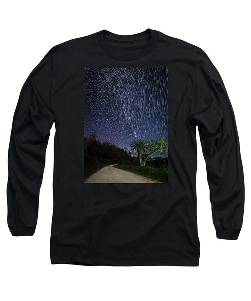 Star Trail Over The Blue Ridge Long Sleeve T-Shirt by Serge Skiba