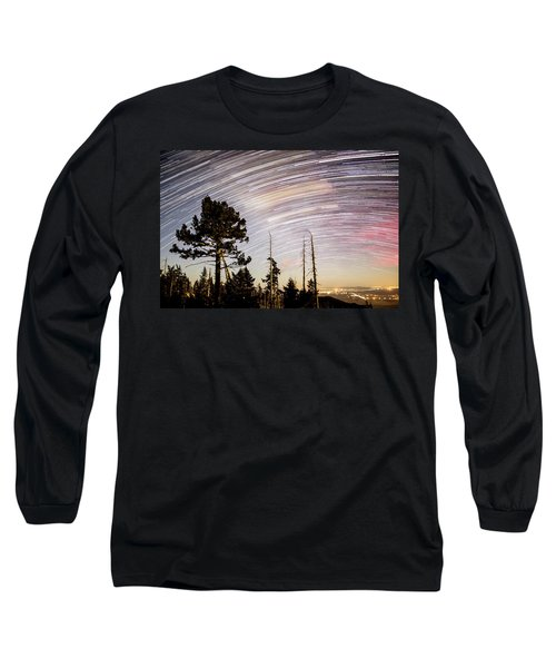 Star Trails At Fort Grant Long Sleeve T-Shirt