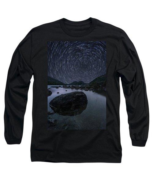Star Trails Over Jordan Pond Long Sleeve T-Shirt