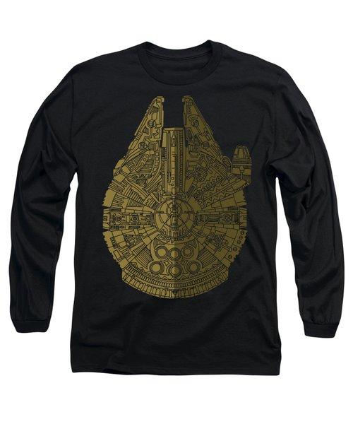 Star Wars Art - Millennium Falcon - Black, Brown Long Sleeve T-Shirt by Studio Grafiikka