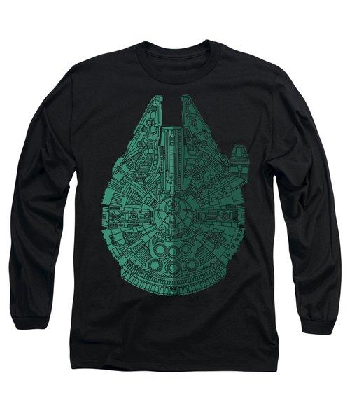 Star Wars Art - Millennium Falcon - Blue Green Long Sleeve T-Shirt by Studio Grafiikka